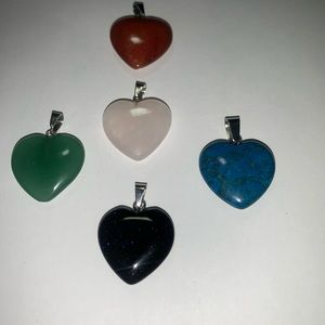 MULTI Colored Stone HEARTS. With SS Chain.